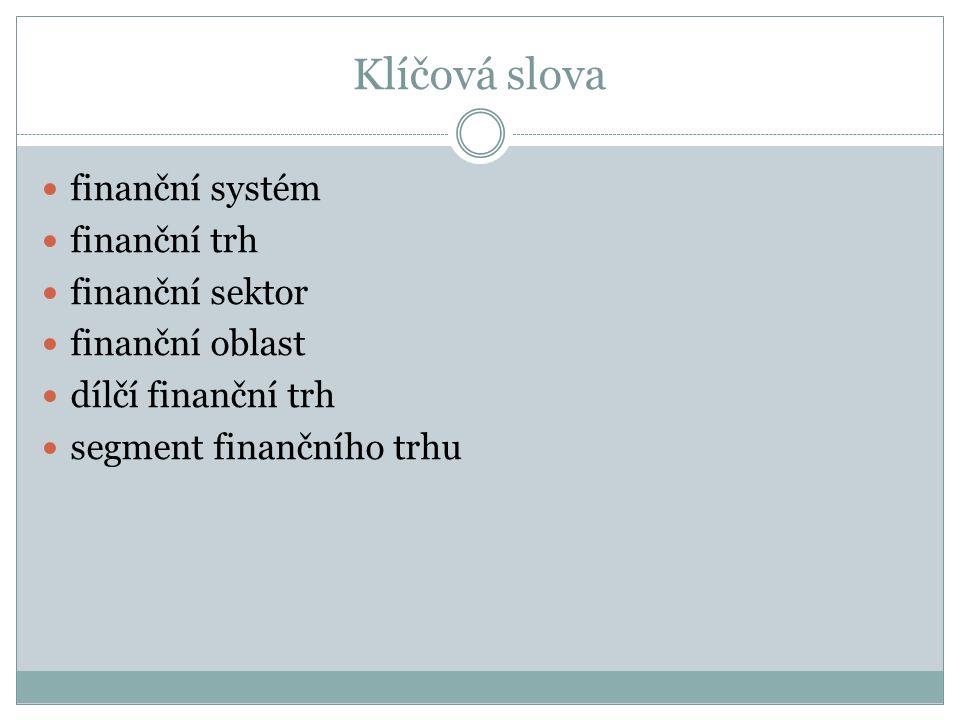 Klíčová slova finanční systém finanční trh finanční sektor