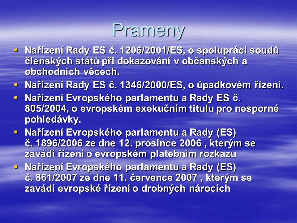Prameny Nařízení Rady ES č. 1206/2001/ES, o spolupráci soudů členských států při dokazování v občanských a obchodních věcech.