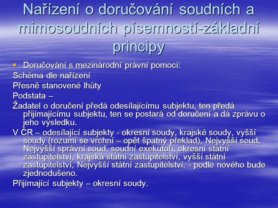 Nařízení o doručování soudních a mimosoudních písemností-základní principy