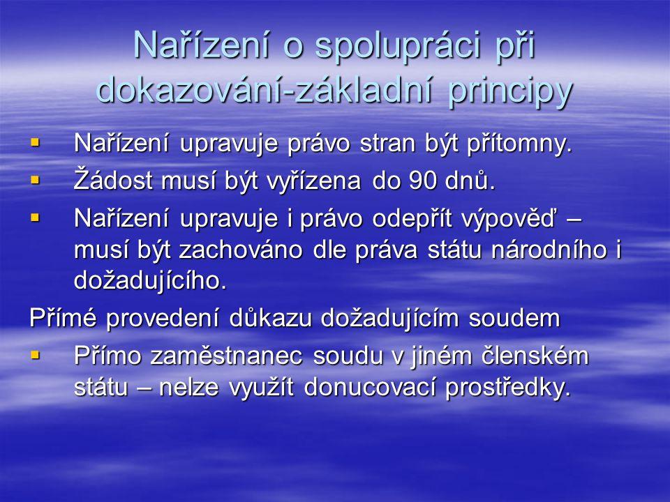 Nařízení o spolupráci při dokazování-základní principy