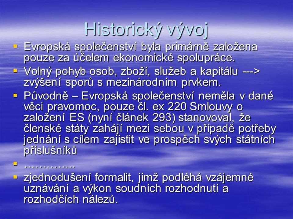 Historický vývoj Evropská společenství byla primárně založena pouze za účelem ekonomické spolupráce.