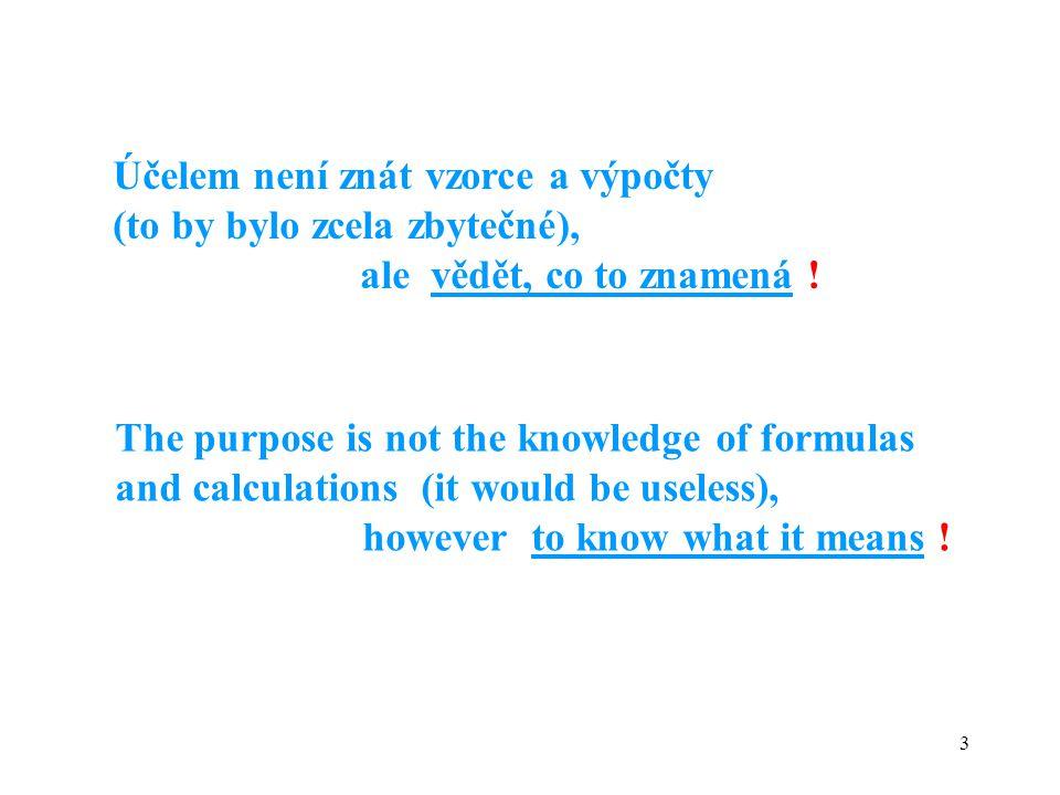 Účelem není znát vzorce a výpočty (to by bylo zcela zbytečné),