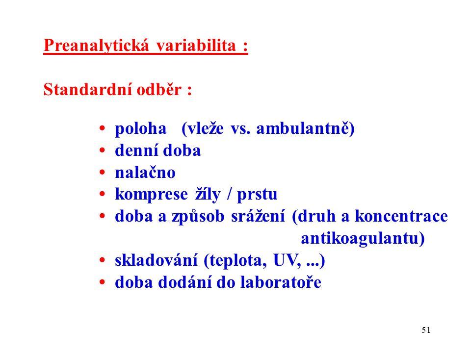 Preanalytická variabilita :