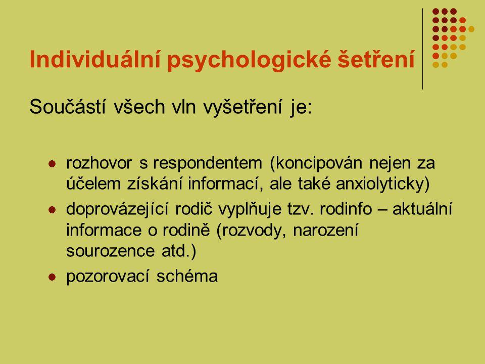 Individuální psychologické šetření
