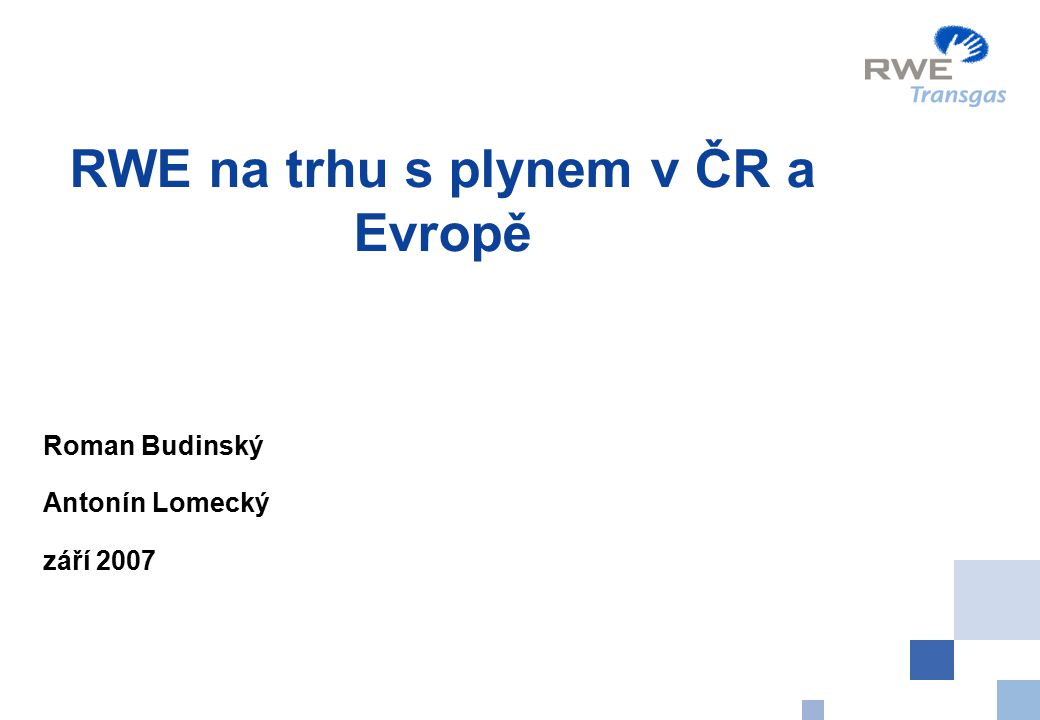RWE na trhu s plynem v ČR a Evropě