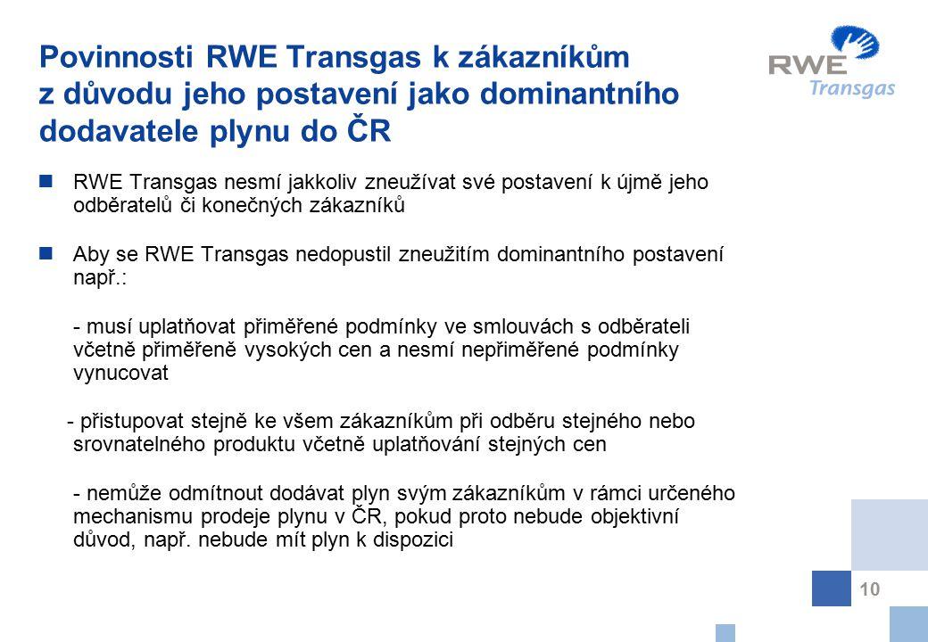 Povinnosti RWE Transgas k zákazníkům z důvodu jeho postavení jako dominantního dodavatele plynu do ČR