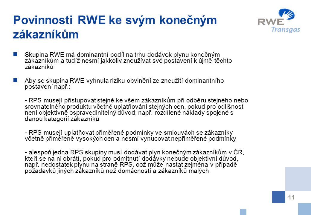 Povinnosti RWE ke svým konečným zákazníkům