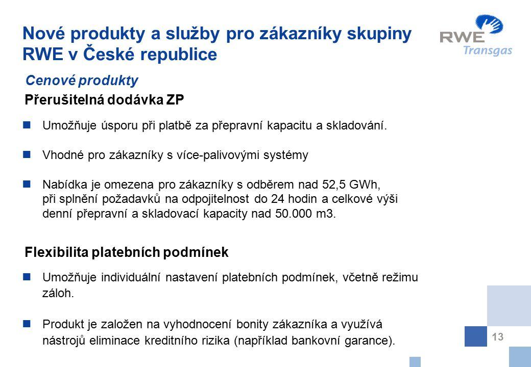 Nové produkty a služby pro zákazníky skupiny RWE v České republice