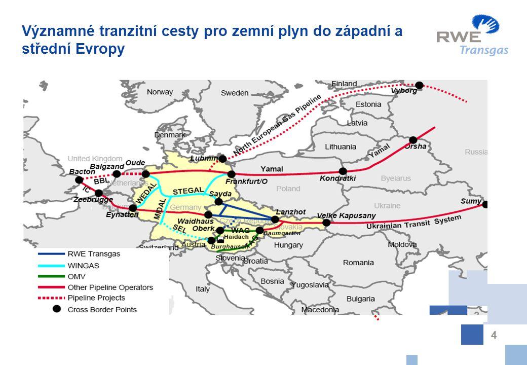 Významné tranzitní cesty pro zemní plyn do západní a střední Evropy