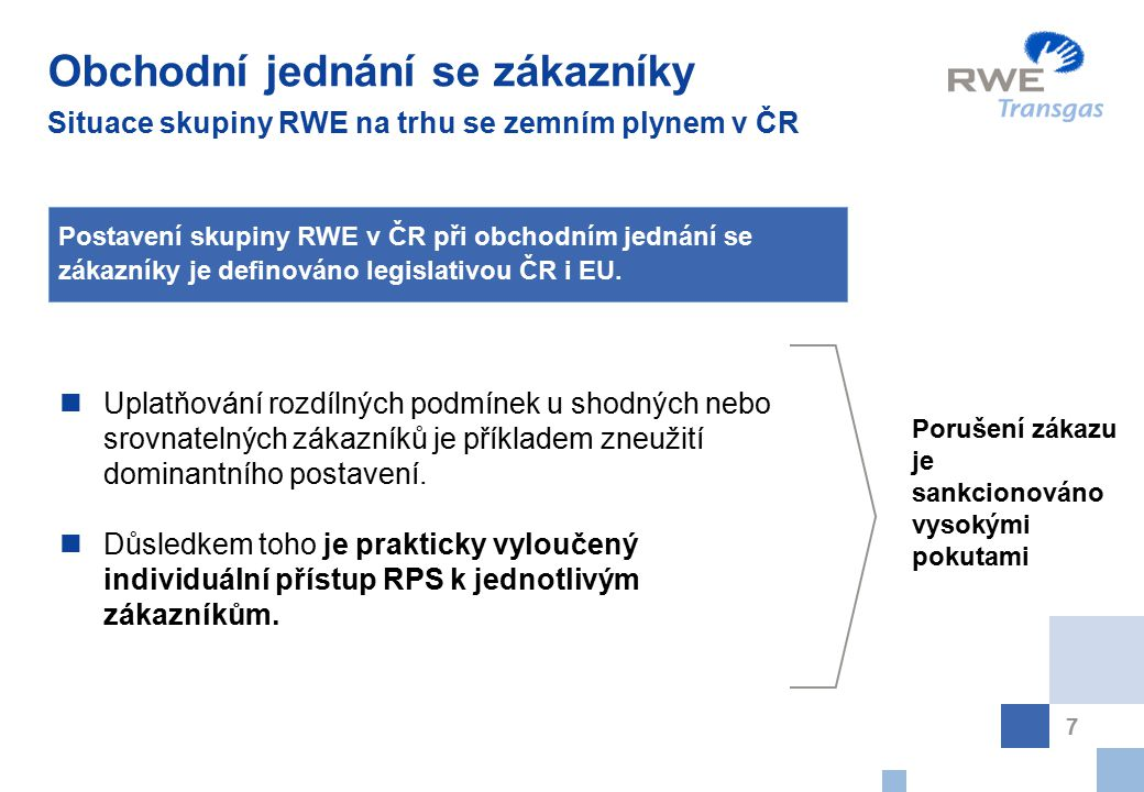 Obchodní jednání se zákazníky Situace skupiny RWE na trhu se zemním plynem v ČR