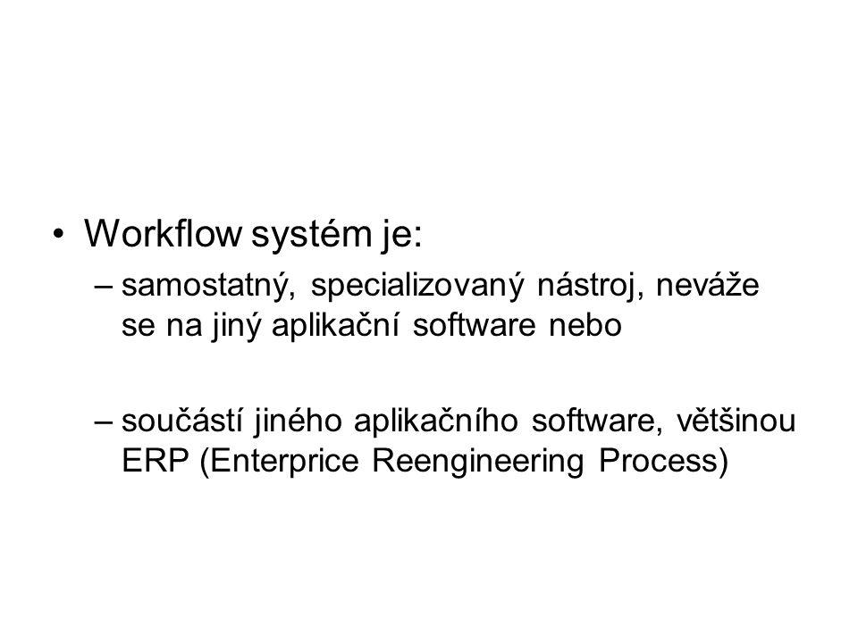 Workflow systém je: samostatný, specializovaný nástroj, neváže se na jiný aplikační software nebo.