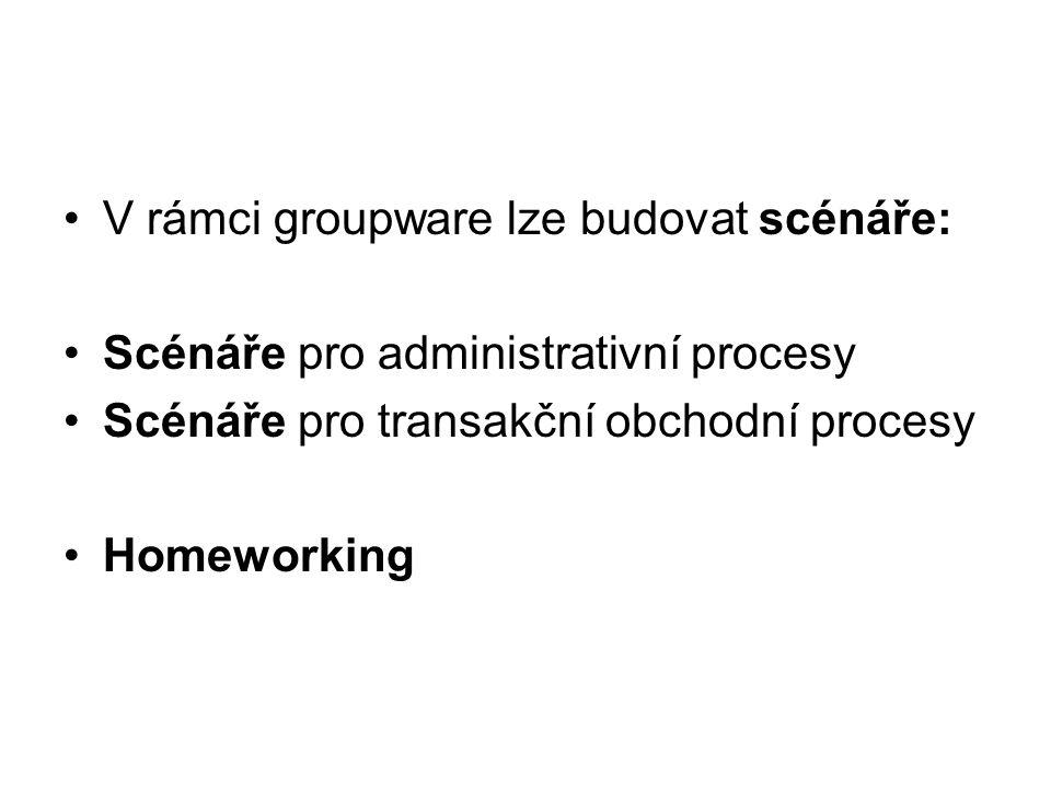 V rámci groupware lze budovat scénáře: