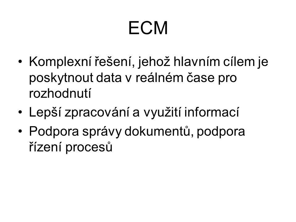 ECM Komplexní řešení, jehož hlavním cílem je poskytnout data v reálném čase pro rozhodnutí. Lepší zpracování a využití informací.