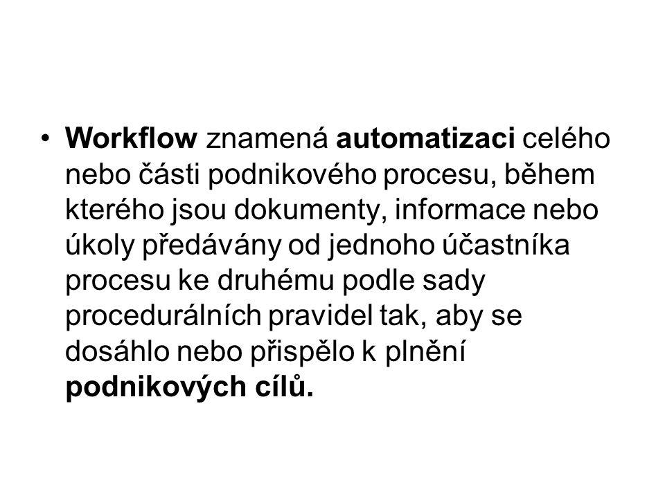 Workflow znamená automatizaci celého nebo části podnikového procesu, během kterého jsou dokumenty, informace nebo úkoly předávány od jednoho účastníka procesu ke druhému podle sady procedurálních pravidel tak, aby se dosáhlo nebo přispělo k plnění podnikových cílů.
