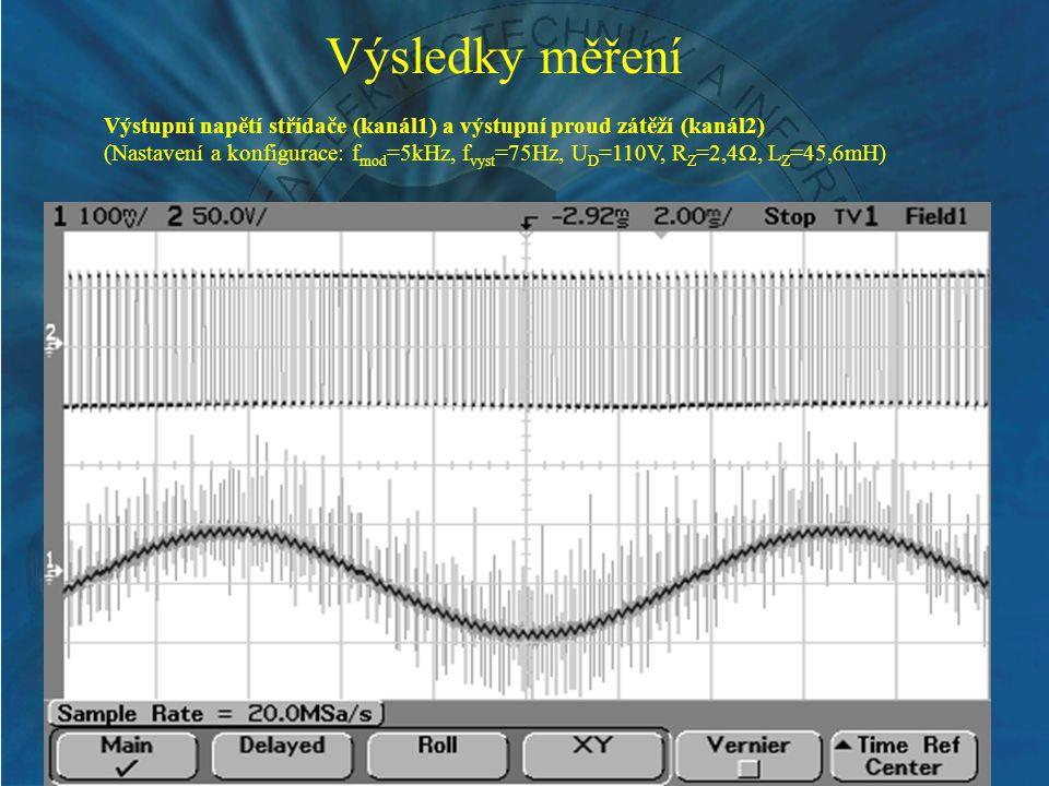 Výsledky měření Výstupní napětí střídače (kanál1) a výstupní proud zátěží (kanál2)