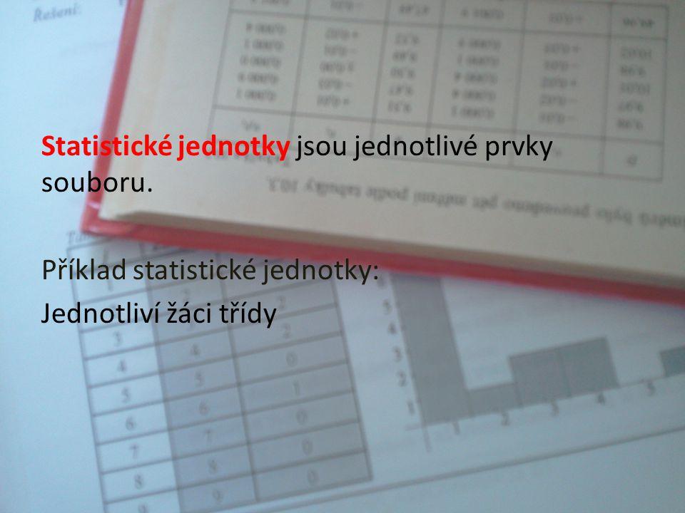 Statistické jednotky jsou jednotlivé prvky souboru