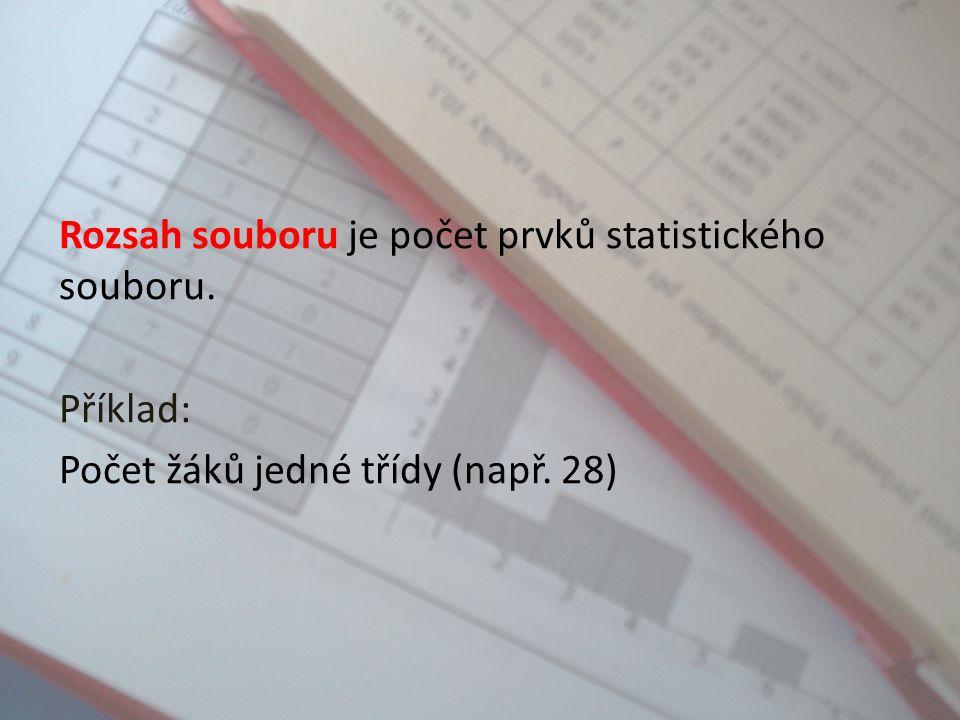 Rozsah souboru je počet prvků statistického souboru