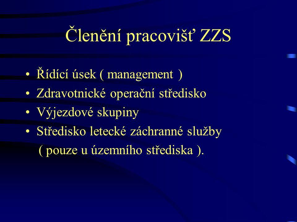 Členění pracovišť ZZS Řídící úsek ( management )