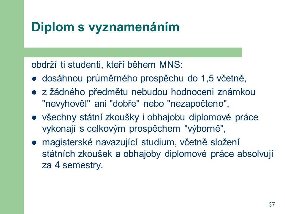 Diplom s vyznamenáním obdrží ti studenti, kteří během MNS: