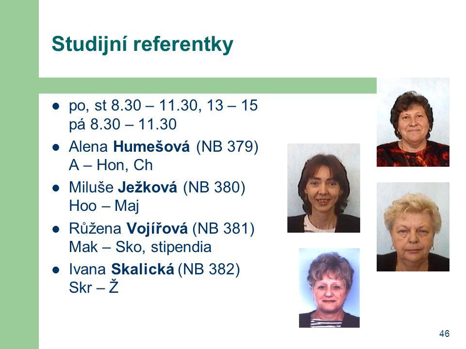 Studijní referentky po, st 8.30 – 11.30, 13 – 15 pá 8.30 – 11.30