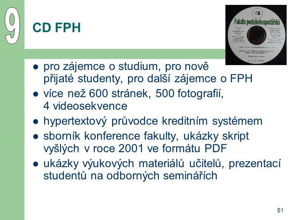 9 CD FPH. pro zájemce o studium, pro nově přijaté studenty, pro další zájemce o FPH. více než 600 stránek, 500 fotografií, 4 videosekvence.