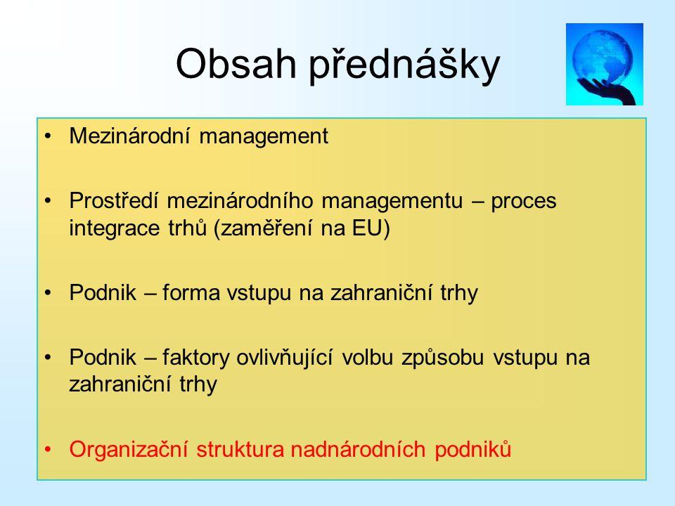 Obsah přednášky Mezinárodní management