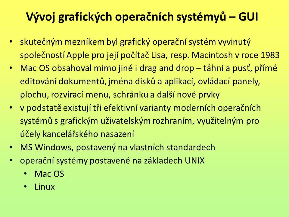 Vývoj grafických operačních systémyů – GUI