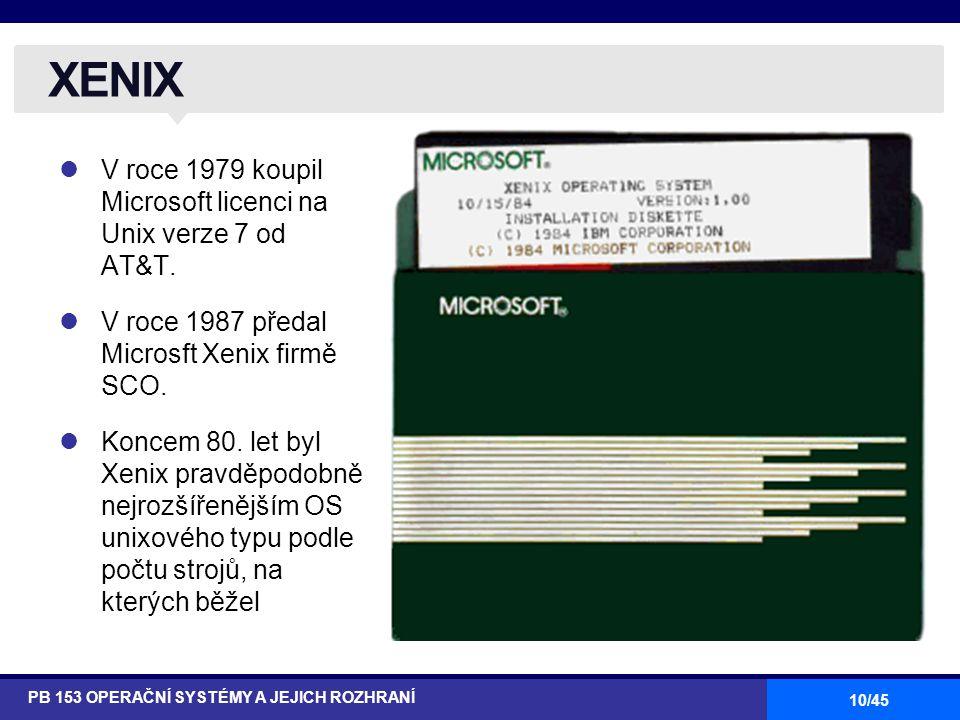 XENIX V roce 1979 koupil Microsoft licenci na Unix verze 7 od AT&T.