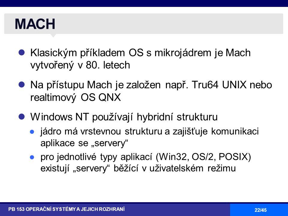 MACH Klasickým příkladem OS s mikrojádrem je Mach vytvořený v 80. letech. Na přístupu Mach je založen např. Tru64 UNIX nebo realtimový OS QNX.