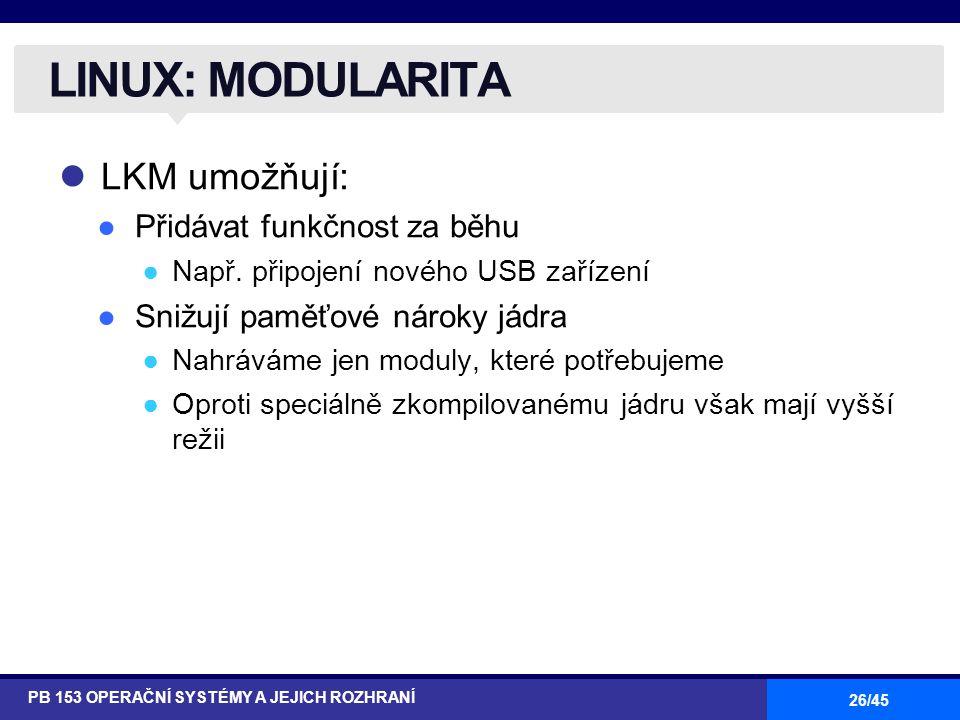 LINUX: MODULARITA LKM umožňují: Přidávat funkčnost za běhu