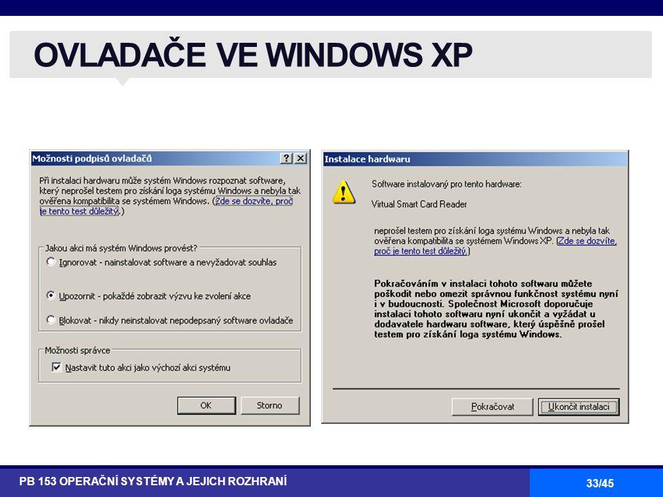 OVLADAČE VE WINDOWS XP PB 153 OPERAČNÍ SYSTÉMY A JEJICH ROZHRANÍ