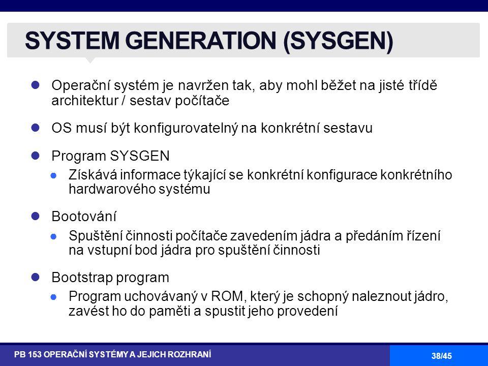 SYSTEM GENERATION (SYSGEN)