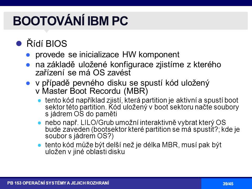 BOOTOVÁNÍ IBM PC Řídí BIOS provede se inicializace HW komponent