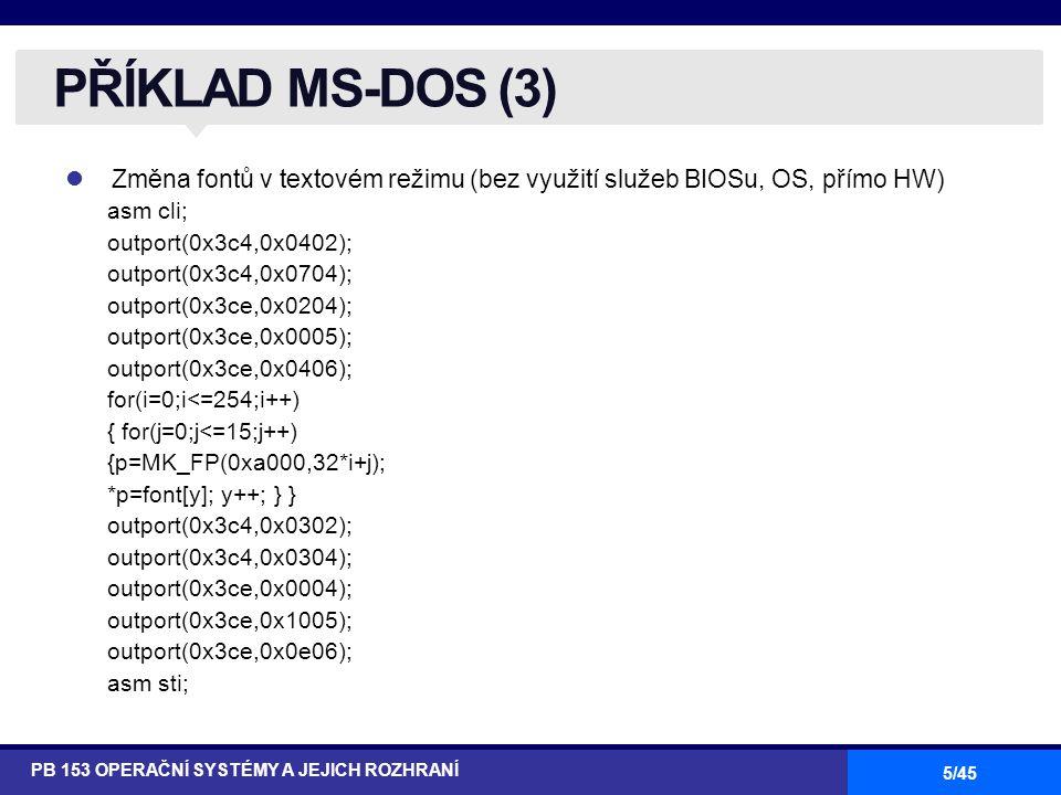 PŘÍKLAD MS-DOS (3) Změna fontů v textovém režimu (bez využití služeb BIOSu, OS, přímo HW) asm cli;