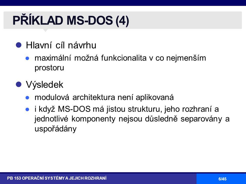 PŘÍKLAD MS-DOS (4) Hlavní cíl návrhu Výsledek