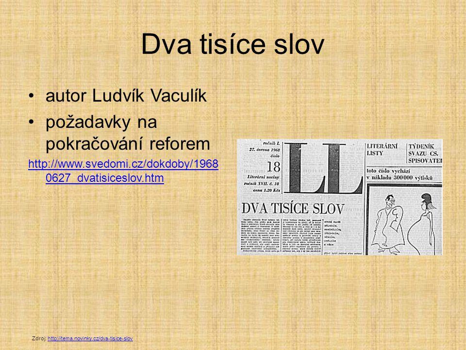 Dva tisíce slov autor Ludvík Vaculík požadavky na pokračování reforem