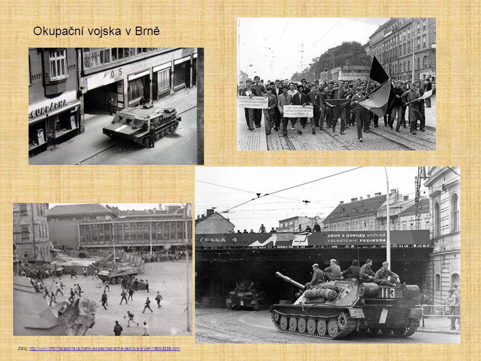 Okupační vojska v Brně Zdroj: http://www.informacezbrna.cz/clanky/spolecnost/anna-peckova-srpen-1968-6269.html.