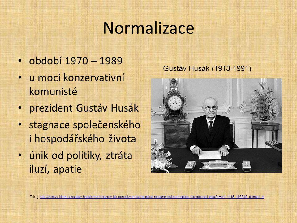 Normalizace období 1970 – 1989 u moci konzervativní komunisté