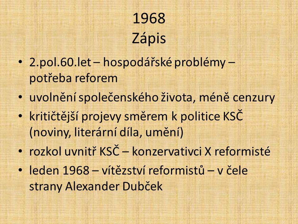 1968 Zápis 2.pol.60.let – hospodářské problémy – potřeba reforem