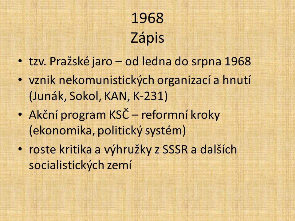 1968 Zápis tzv. Pražské jaro – od ledna do srpna 1968