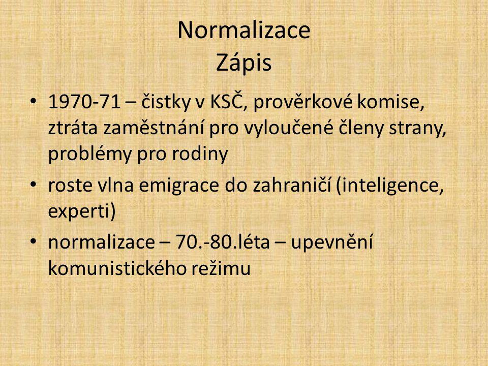 Normalizace Zápis 1970-71 – čistky v KSČ, prověrkové komise, ztráta zaměstnání pro vyloučené členy strany, problémy pro rodiny.