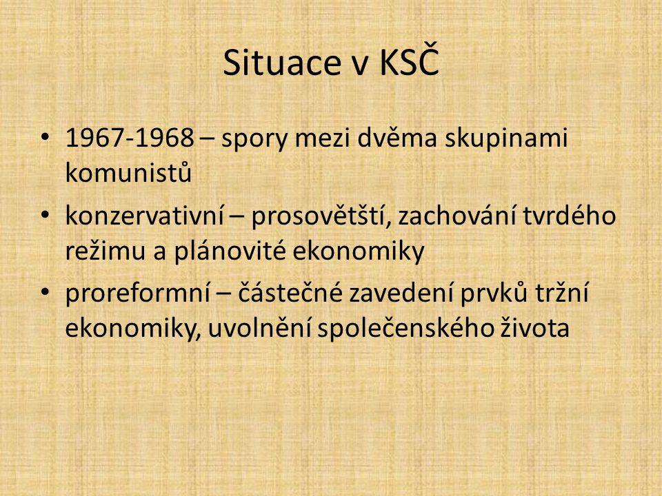 Situace v KSČ 1967-1968 – spory mezi dvěma skupinami komunistů