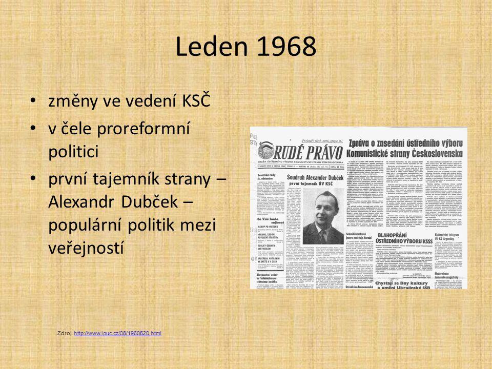 Leden 1968 změny ve vedení KSČ v čele proreformní politici