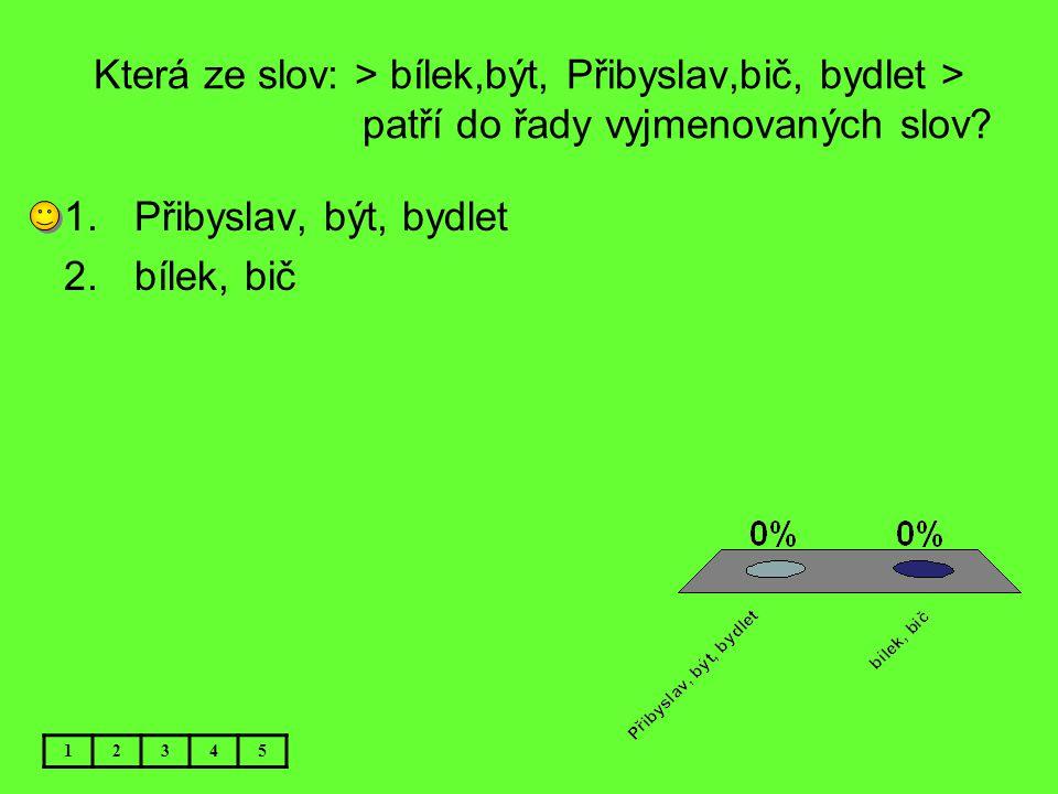 Která ze slov: > bílek,být, Přibyslav,bič, bydlet > patří do řady vyjmenovaných slov