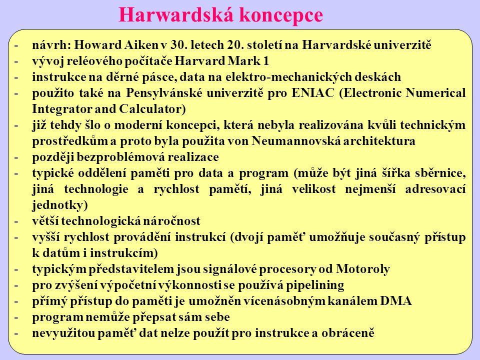 Harwardská koncepce návrh: Howard Aiken v 30. letech 20. století na Harvardské univerzitě. vývoj reléového počítače Harvard Mark 1.