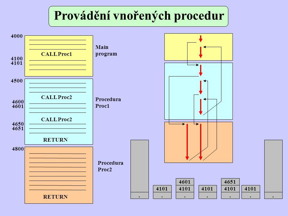 Provádění vnořených procedur