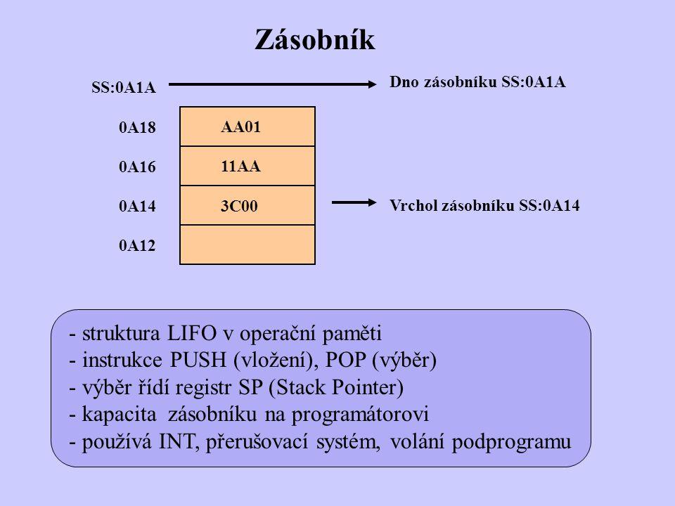 Zásobník - struktura LIFO v operační paměti