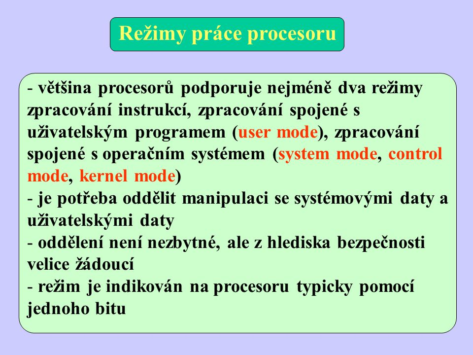 Režimy práce procesoru