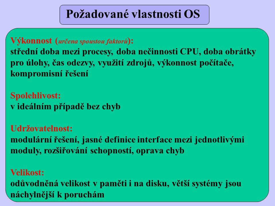 Požadované vlastnosti OS