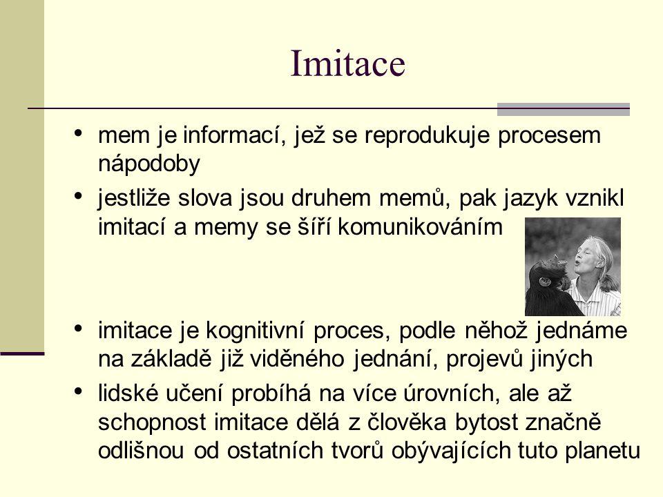 Imitace mem je informací, jež se reprodukuje procesem nápodoby